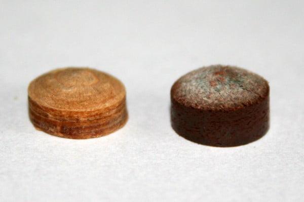 Mehrschichtleder und Einschichtleder Pomeranze im Vergleich